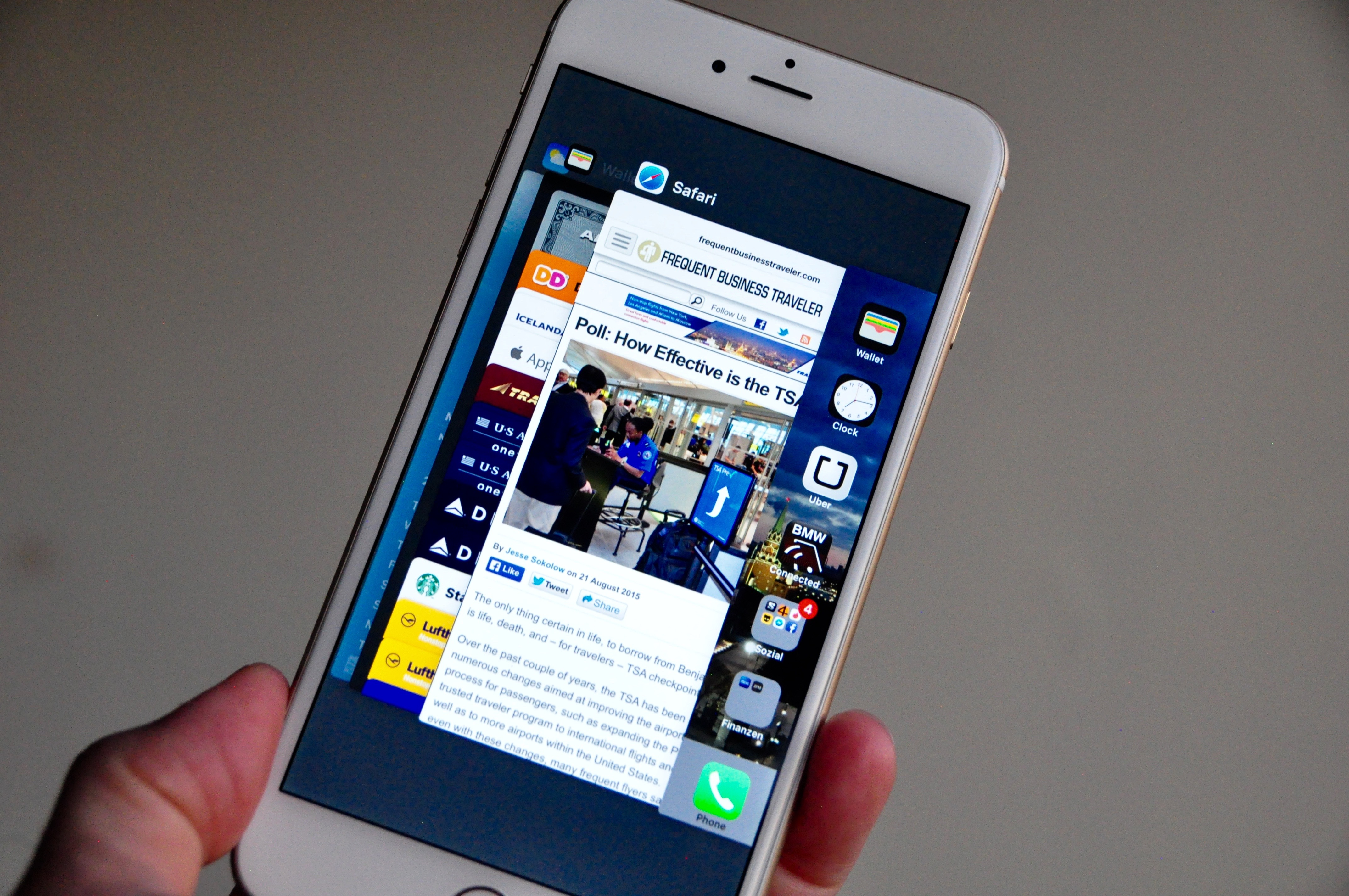 Apple's new iOS 9 multitasking feature uses a stacked deck of apps that one swipes through