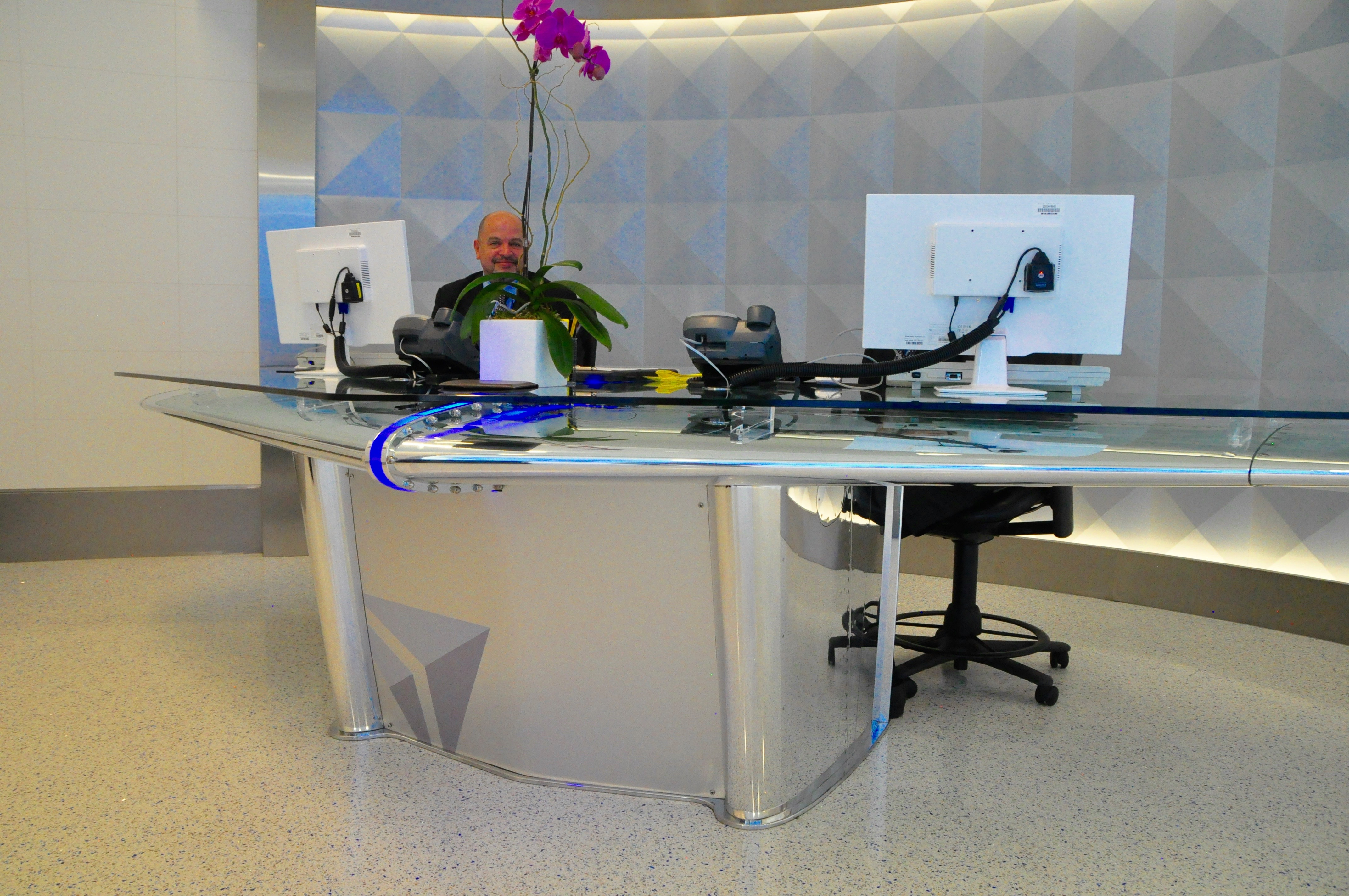 Check-in desk, built from a DC-9 horizontal stabilizer