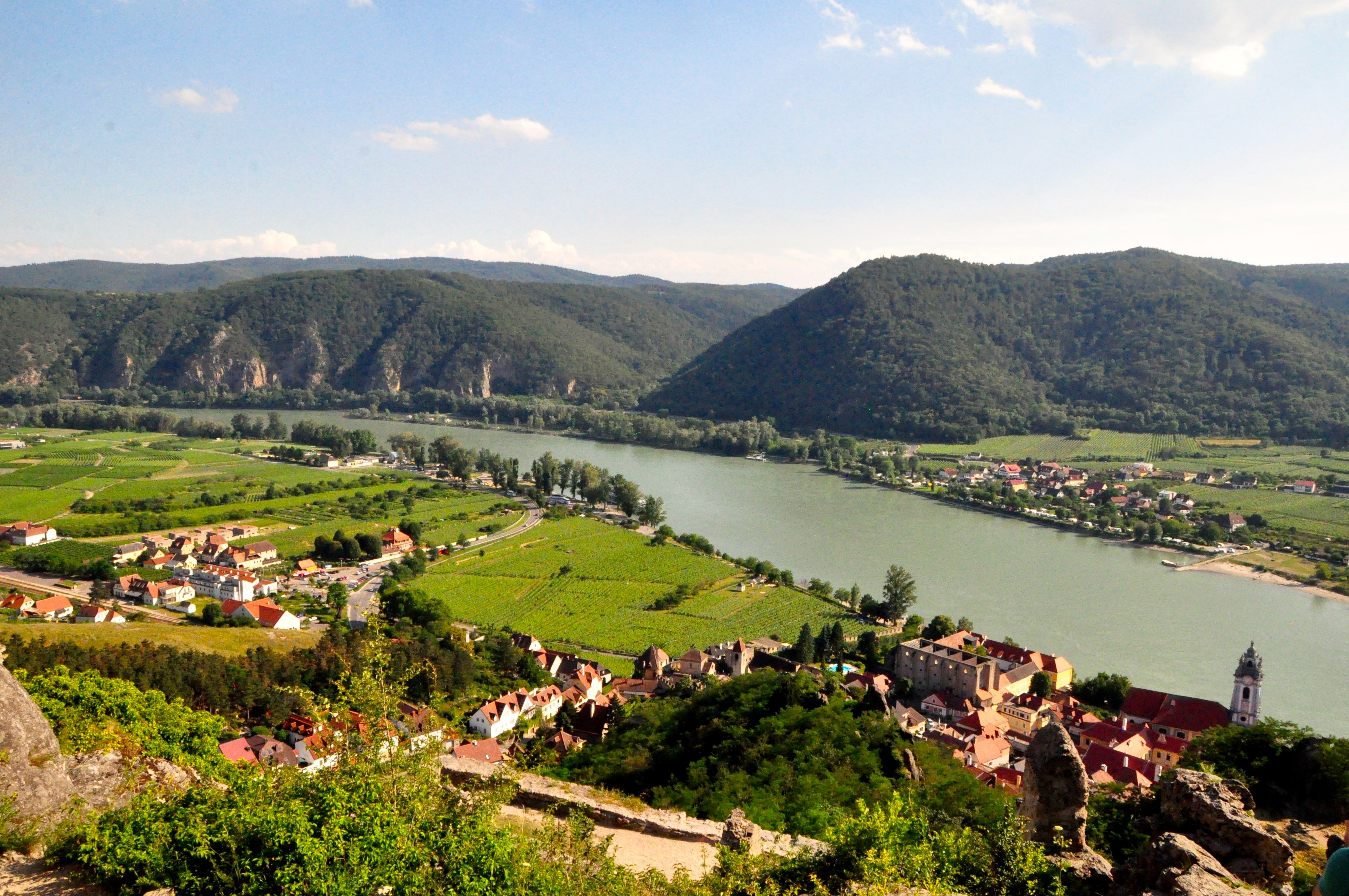 The Danube River viewed from the ruins of the castle where Richard the Lionhearted was held captive in Dürnstein during the Crusades, sent via T-Mobile from the ruins