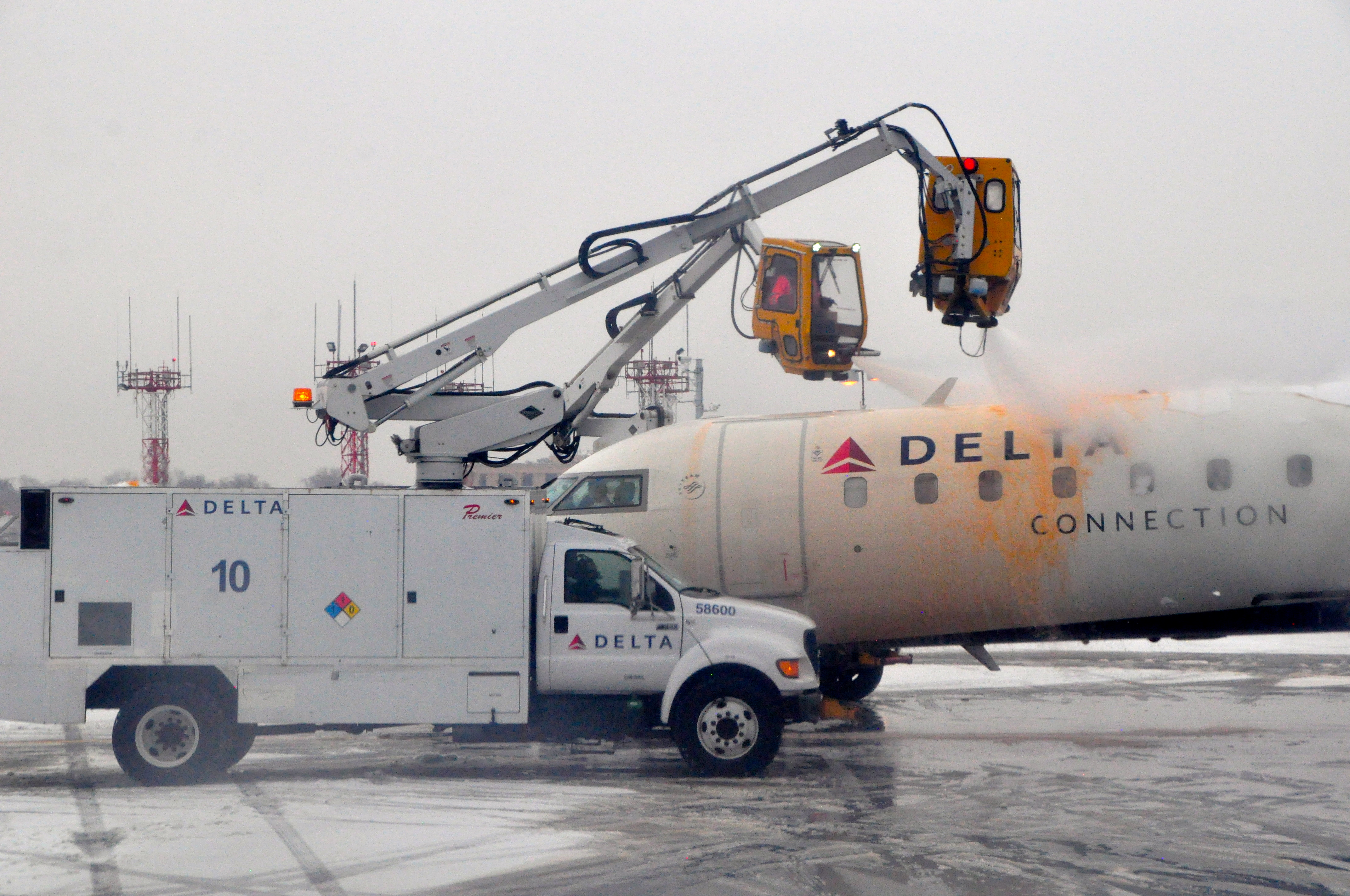 A Delta aircraft being deiced at LaGuardia