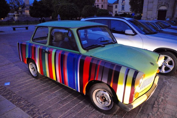 A Trabant with a custom paint job