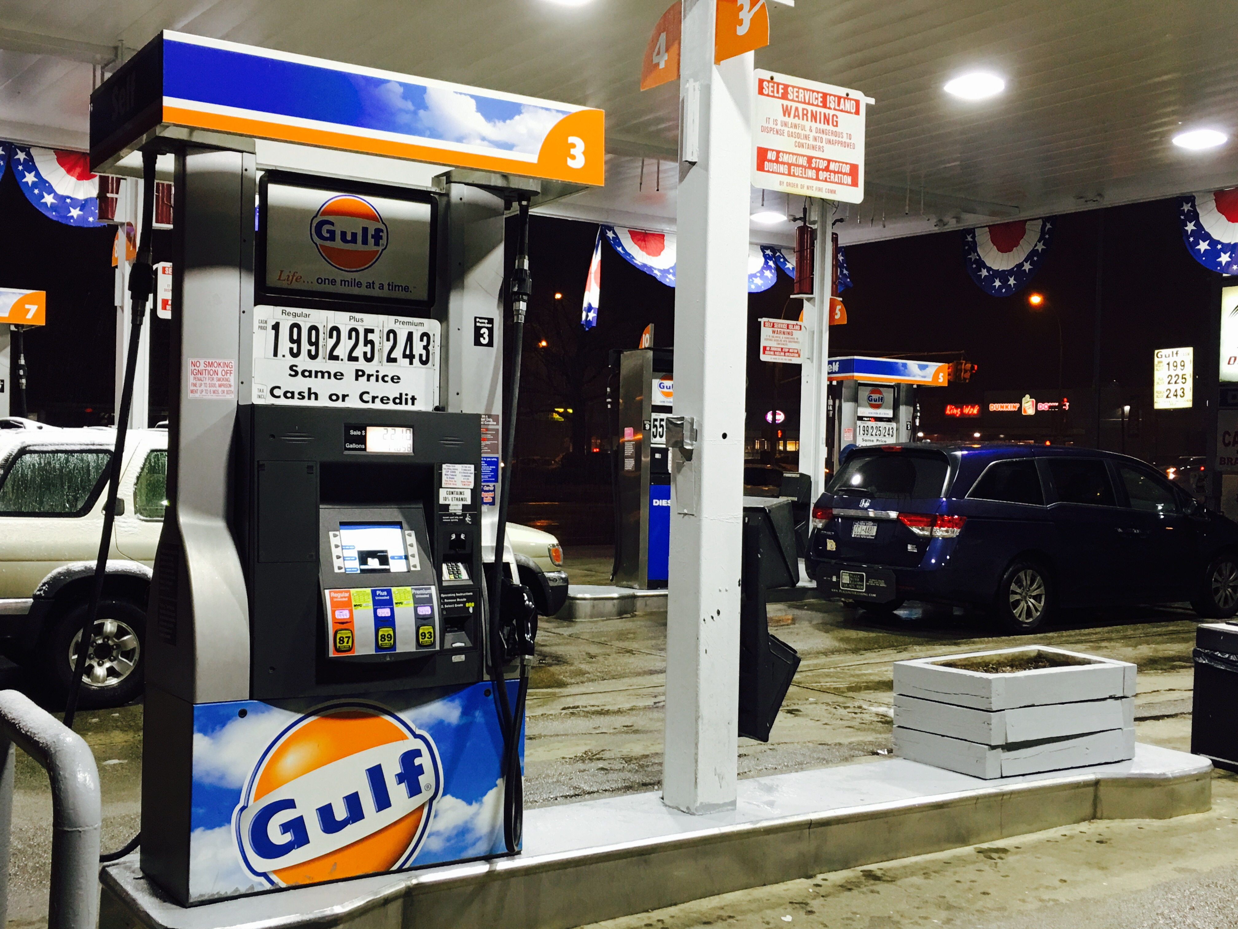 The price of fuel fell below the $2 mark in New York City over the weekend