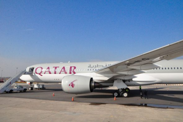 Qatar Airways' new Airbus A350 visiting JFK