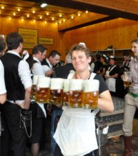 Spaten beer at the Oktoberfest in Munich.