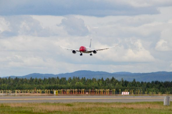 A Norwegian Dreamliner landing in Oslo.