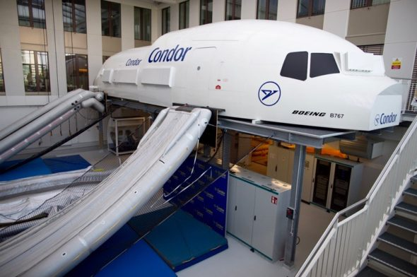 Slides deployed on Boeing partial fuselage trainer at Condor Flugdienst in Frankfurt