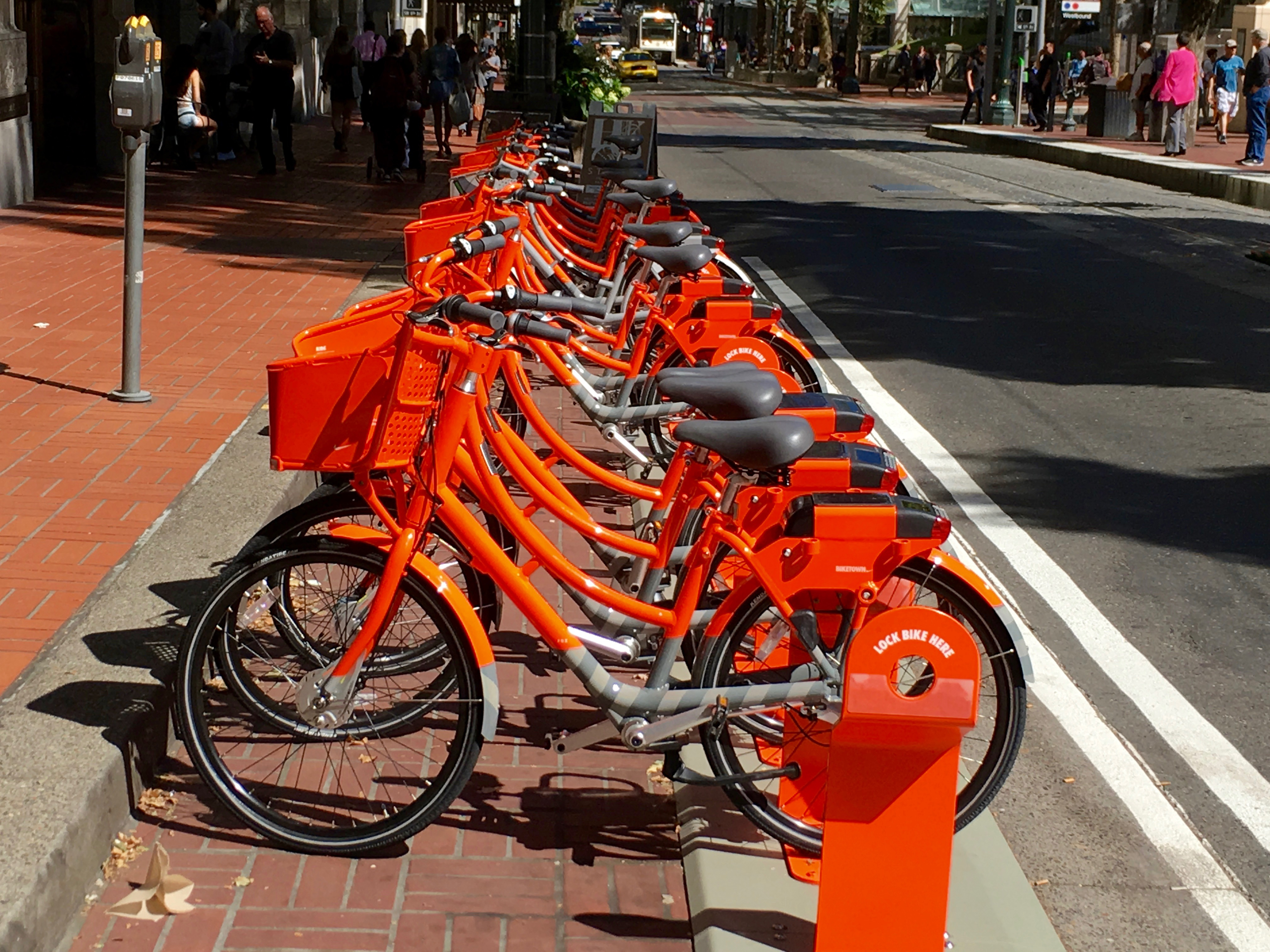 1,000 bright orange bikes are now part of the  city's bike share program