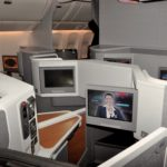 Business-class cabin on an American 777-300ER